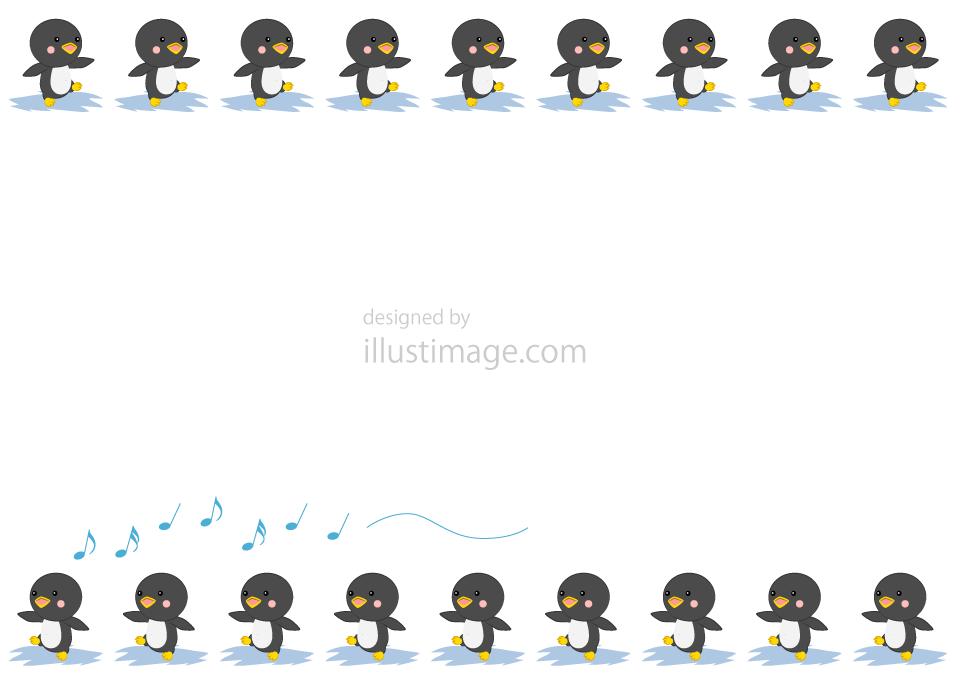 かわいいペンギン行列の無料イラスト素材 イラストイメージ