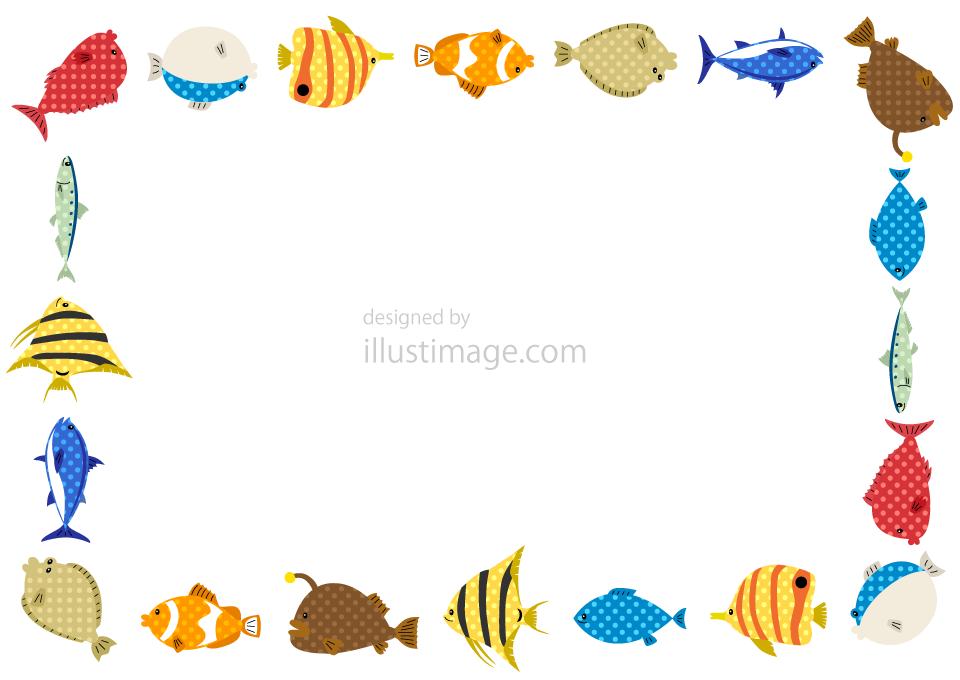 ドット柄の可愛い魚フレームの無料イラスト素材イラストイメージ