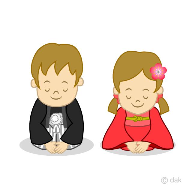 新年挨拶する子どもの無料イラスト素材イラストイメージ