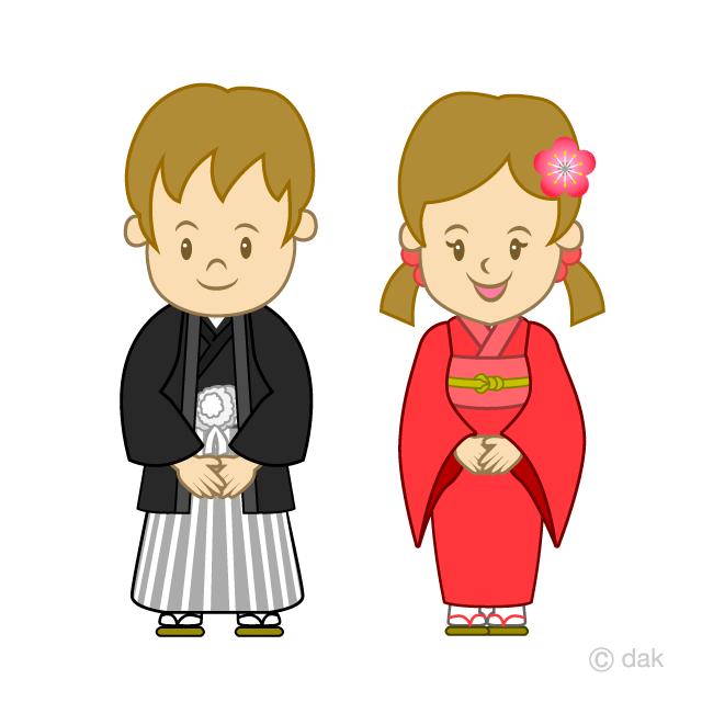 着物を着た男の子と女の子の無料イラスト素材イラストイメージ