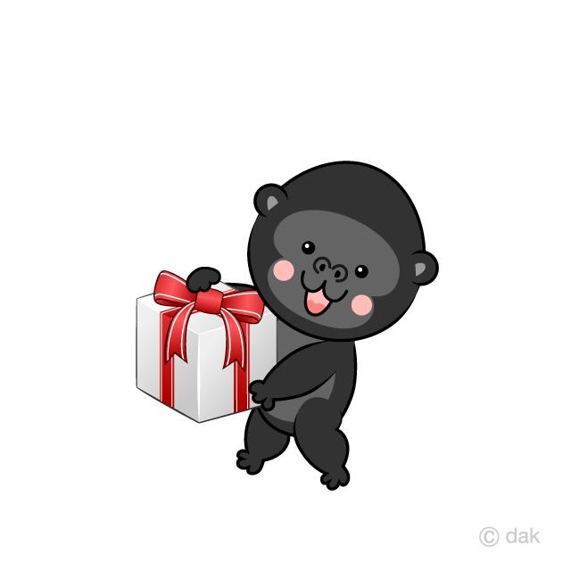 プレゼントする可愛いゴリラの無料イラスト素材イラストイメージ