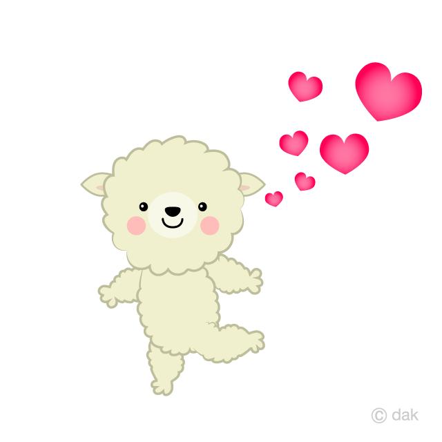 恋する可愛い羊の無料イラスト素材イラストイメージ