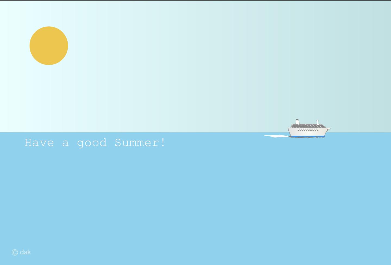 海の暑中見舞いの無料イラスト素材イラストイメージ
