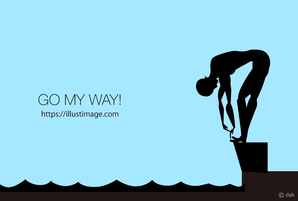 男性水泳選手シルエットの無料イラスト素材イラストイメージ