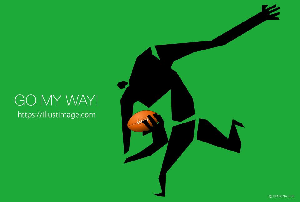 走るラグビー男の無料イラスト素材イラストイメージ