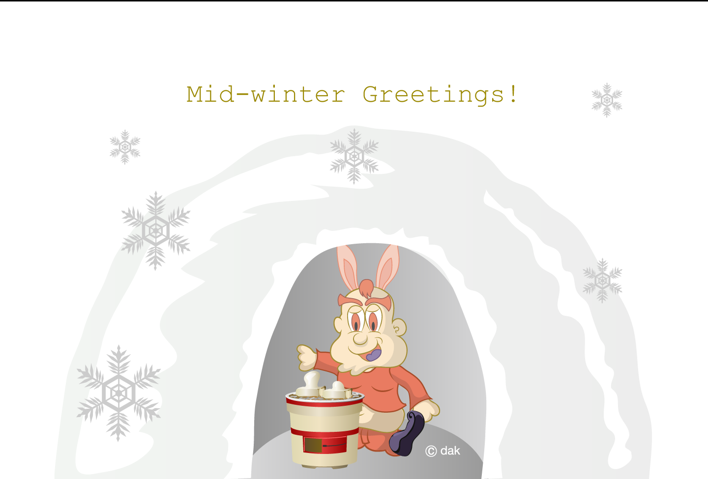 Winter greeting card of the rabbit character relaxing at the house of snow