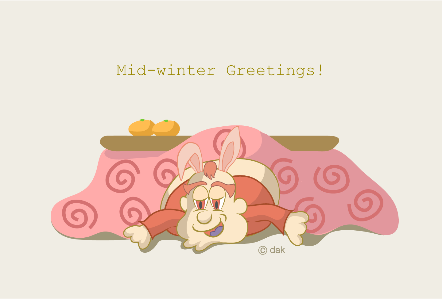 Winter greeting card of rabbit character snoozing with a kotatsu
