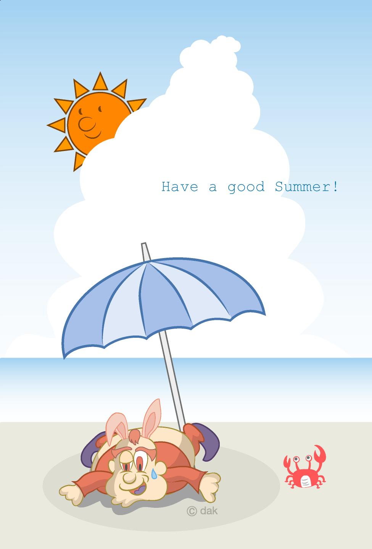 鹿犬_暑い夏の海水浴場の無料イラスト素材|イラストイメージ