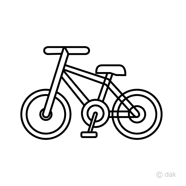 かわいい自転車線画の無料イラスト素材イラストイメージ