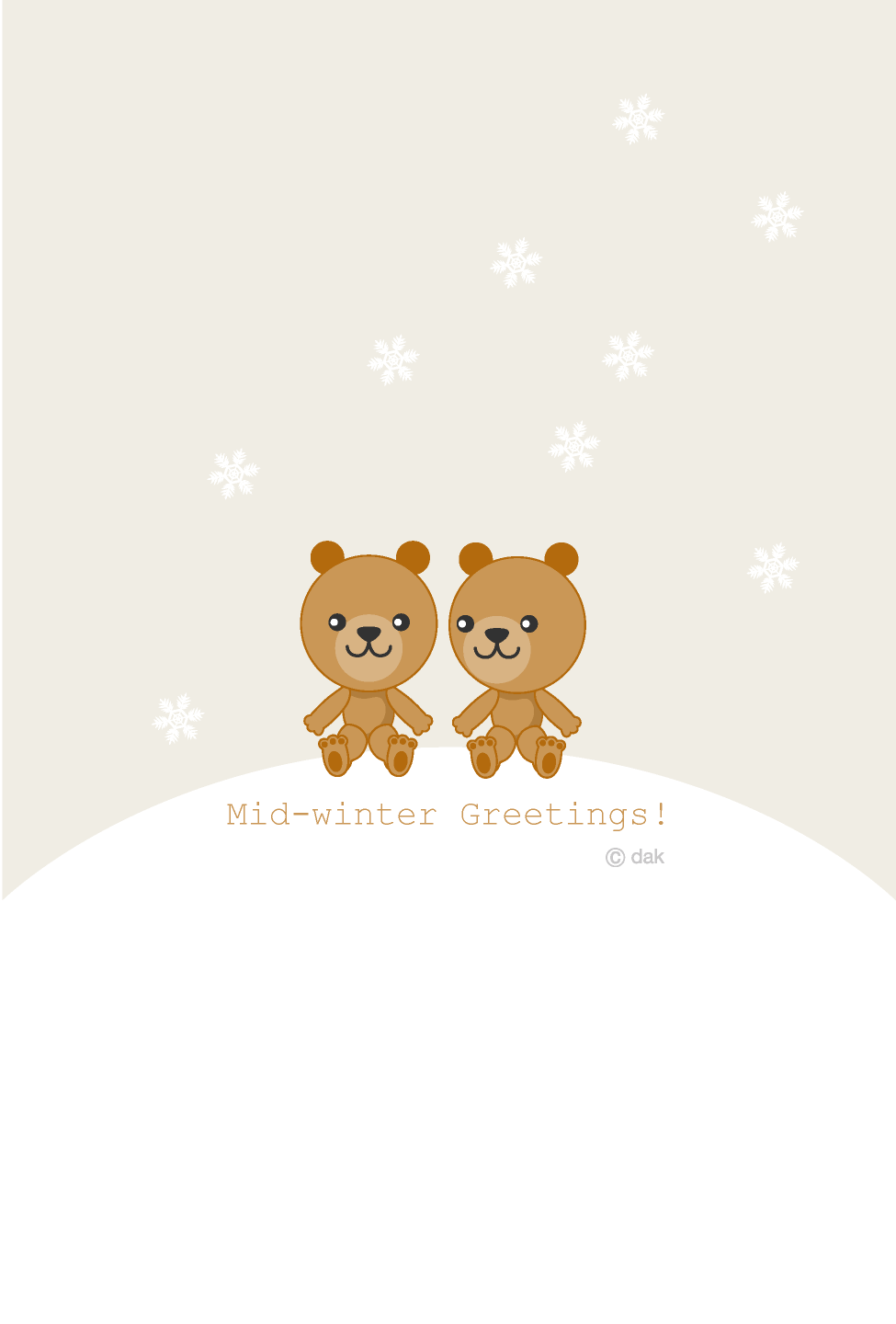 Cute bear winter greeting card