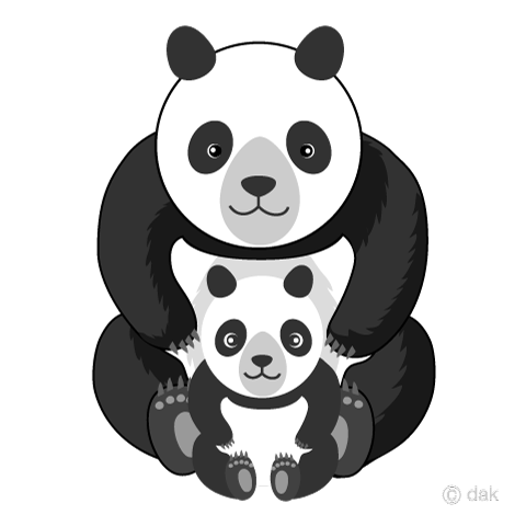 Parent and child panda