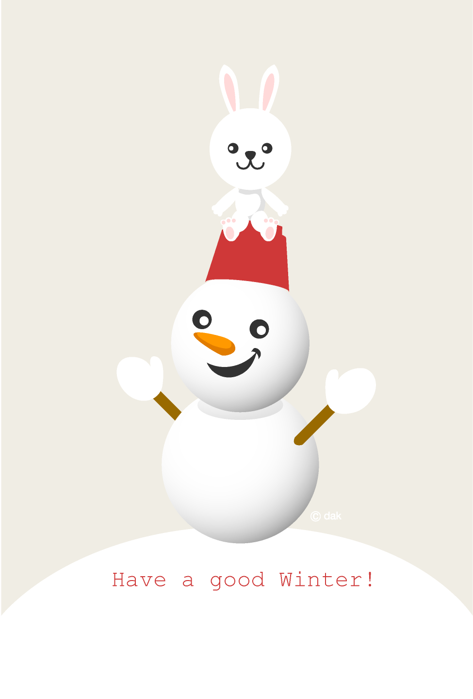 Cute rabbit and snowman winter greeting card