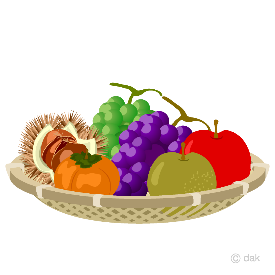 秋の味覚の果物の無料イラスト素材イラストイメージ