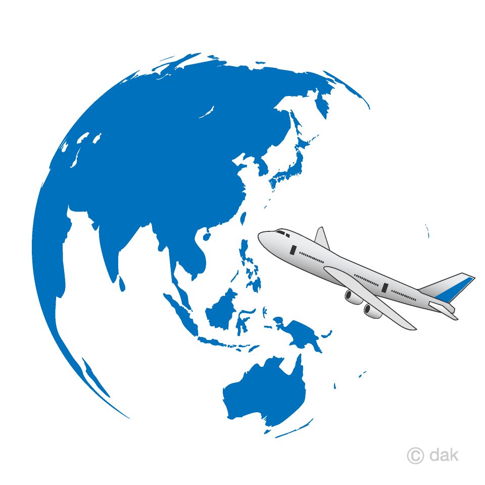 青い地球と飛行機の海外旅行の無料イラスト素材|イラストイメージ
