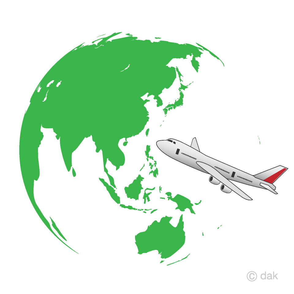 緑の地球と飛行機の海外旅行の無料イラスト素材|イラストイメージ
