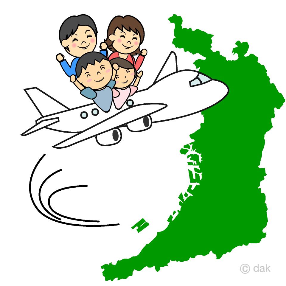 関西空港から旅行出発の無料イラスト素材イラストイメージ