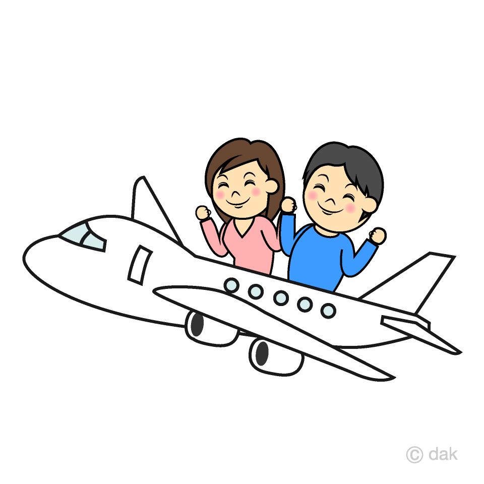 飛行機に乗るカップルの無料イラスト素材イラストイメージ
