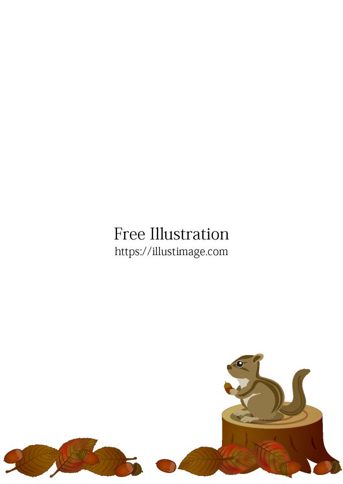 鹿犬_落ち葉と切り株のリスの無料イラスト素材|イラストイメージ