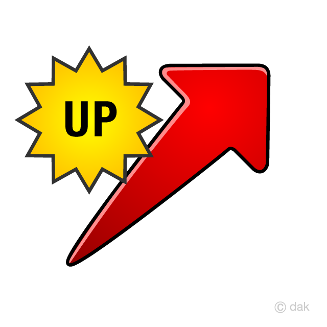 上昇するUP矢印の無料イラスト素...