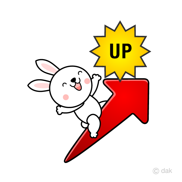 上昇UP矢印に乗るウサギキャラの無料イラスト素材|イラストイメージ