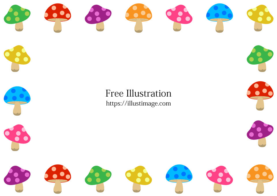 可愛いキノコフレームの無料イラスト素材イラストイメージ