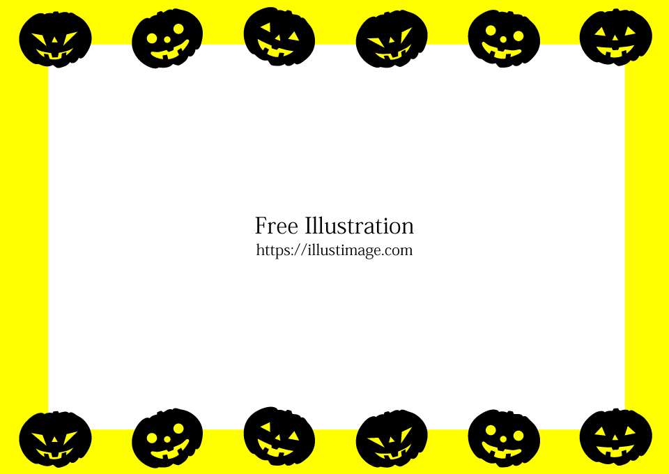 Halloween pumpkin silhouette yellow frame