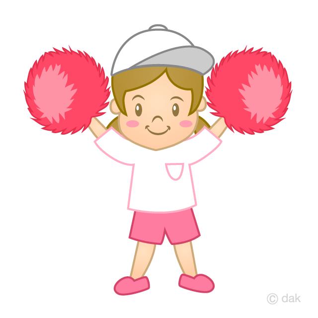 ポンポンで踊る幼稚園児の可愛い女の子の無料イラスト素材イラストイメージ