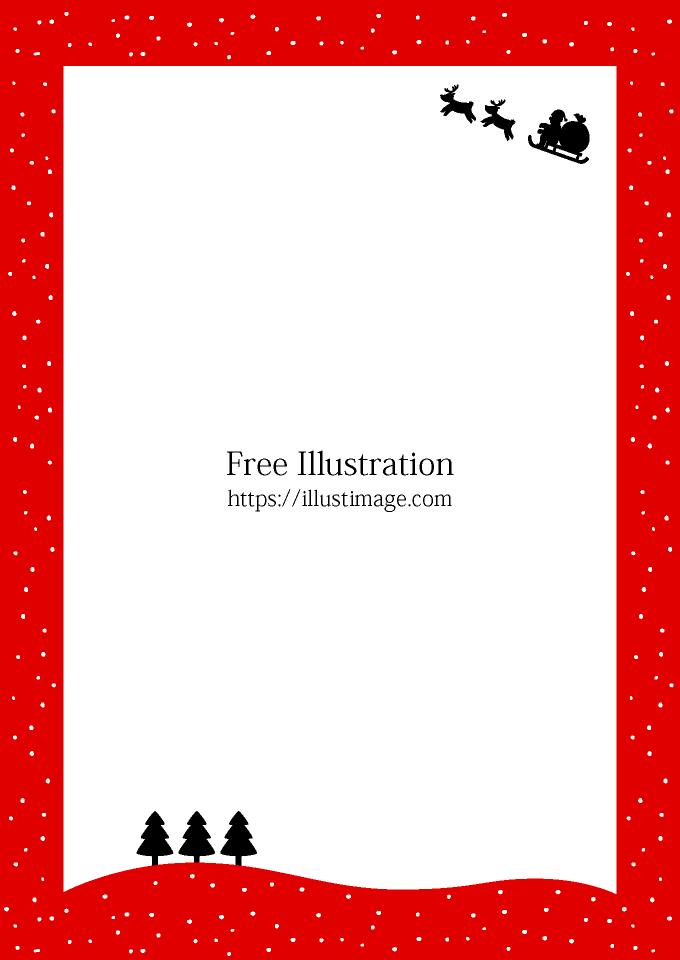 空飛ぶサンタのクリスマス枠 縦 の無料イラスト素材 イラストイメージ
