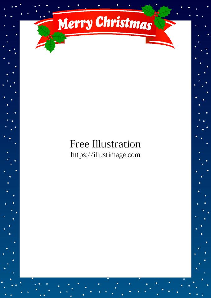 雪降る夜のクリスマス枠の無料イラスト素材イラストイメージ