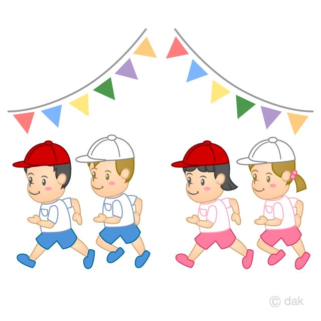 幼稚園運動会のかけっこの無料イラスト素材 イラストイメージ