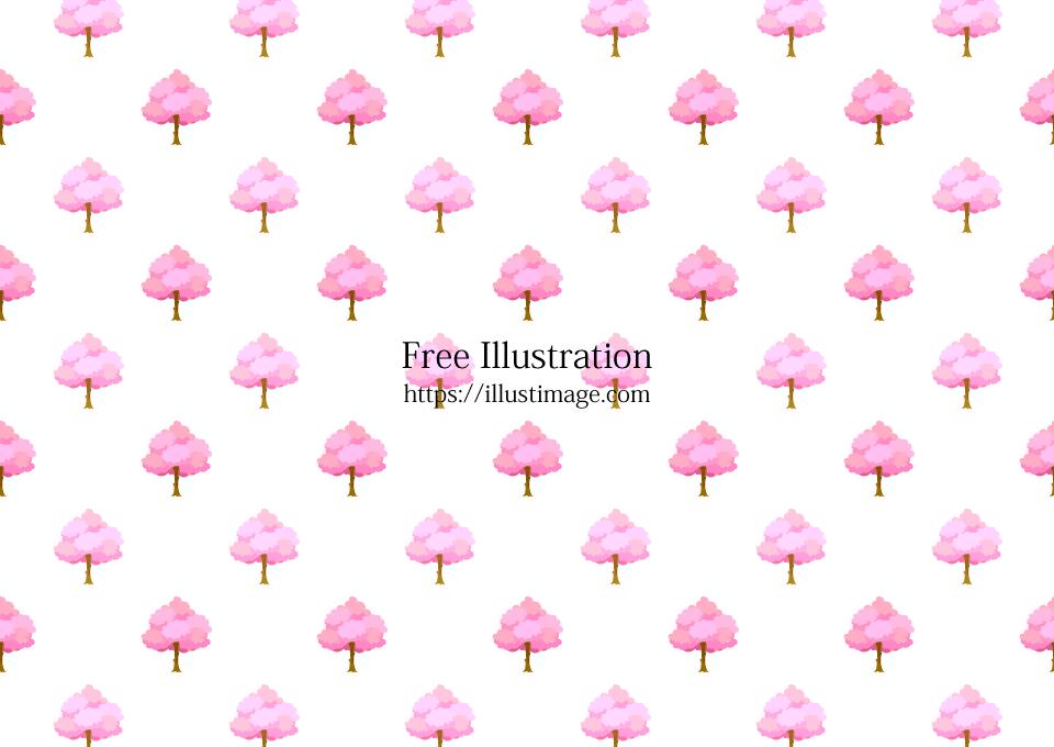 桜の木柄の壁紙の無料イラスト素材 イラストイメージ