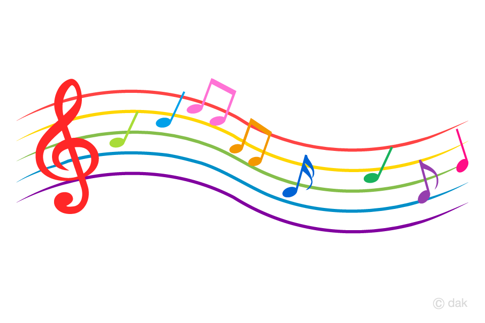 カラフルな波打つ楽譜の音符の無料イラスト素材イラストイメージ