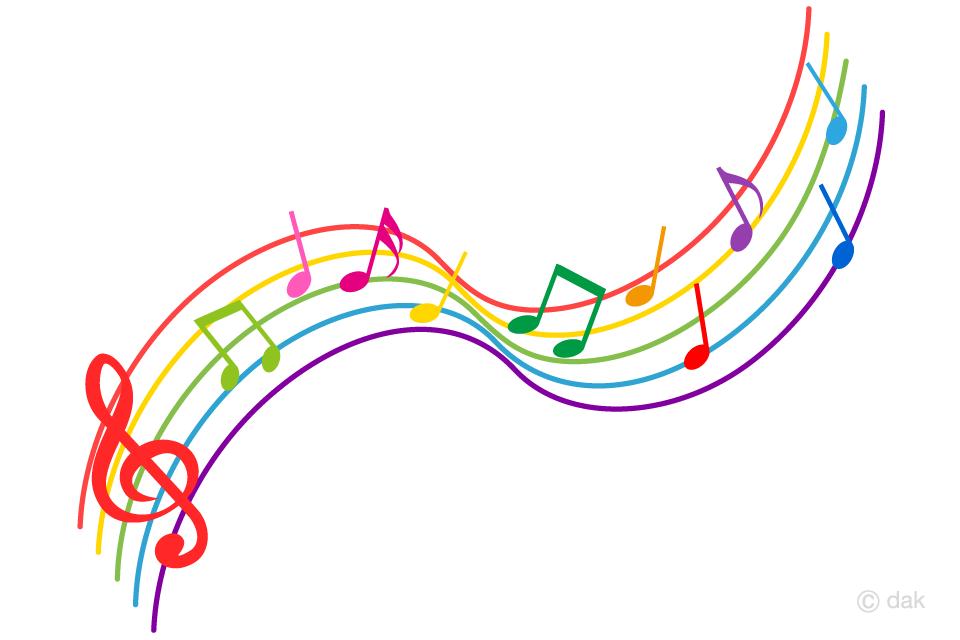 カラフルな上昇する楽譜の音符の無料イラスト素材イラストイメージ