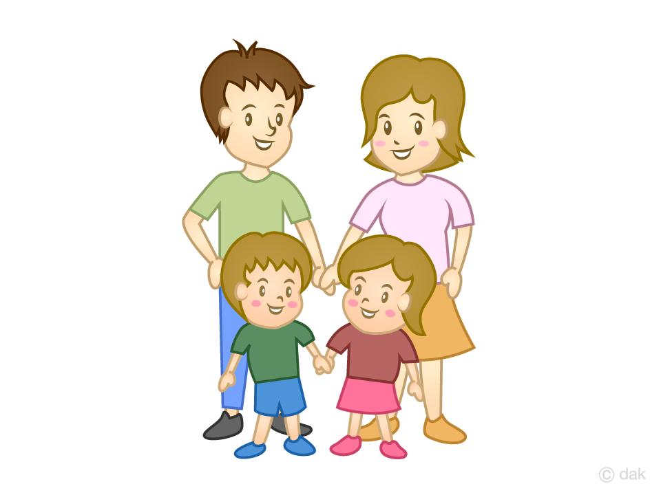 4人家族の無料イラスト素材イラストイメージ