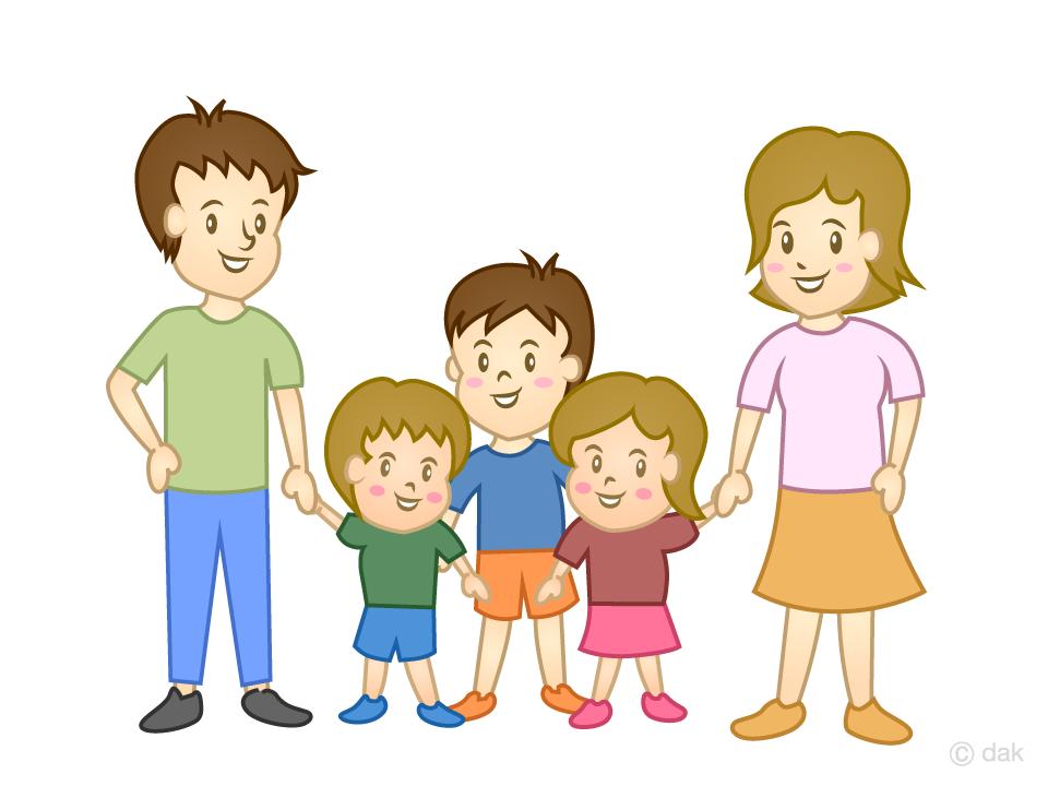 5人家族の無料イラスト素材イラストイメージ