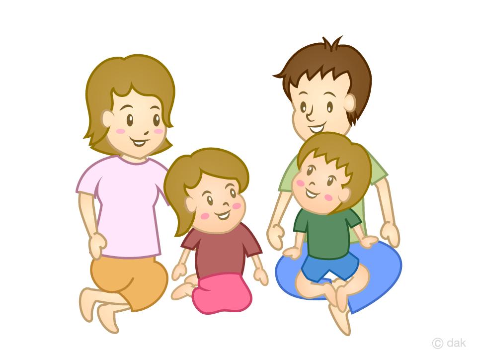 家族団らんの無料イラスト素材イラストイメージ