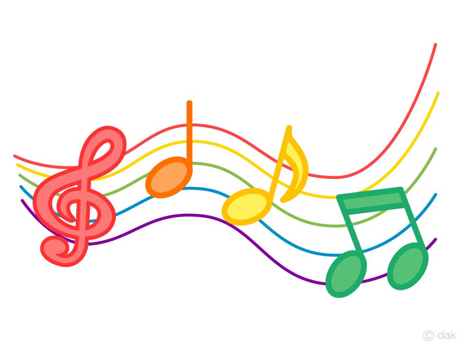可愛い楽譜の音符の無料イラスト素材イラストイメージ