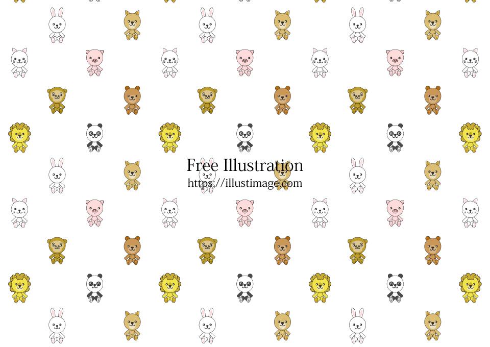 可愛い動物ぬいぐるみ壁紙の無料イラスト素材 イラストイメージ