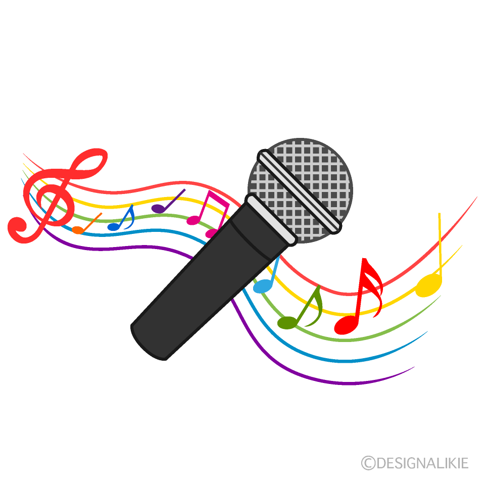 カラオケの軽快な歌の無料イラスト素材イラストイメージ