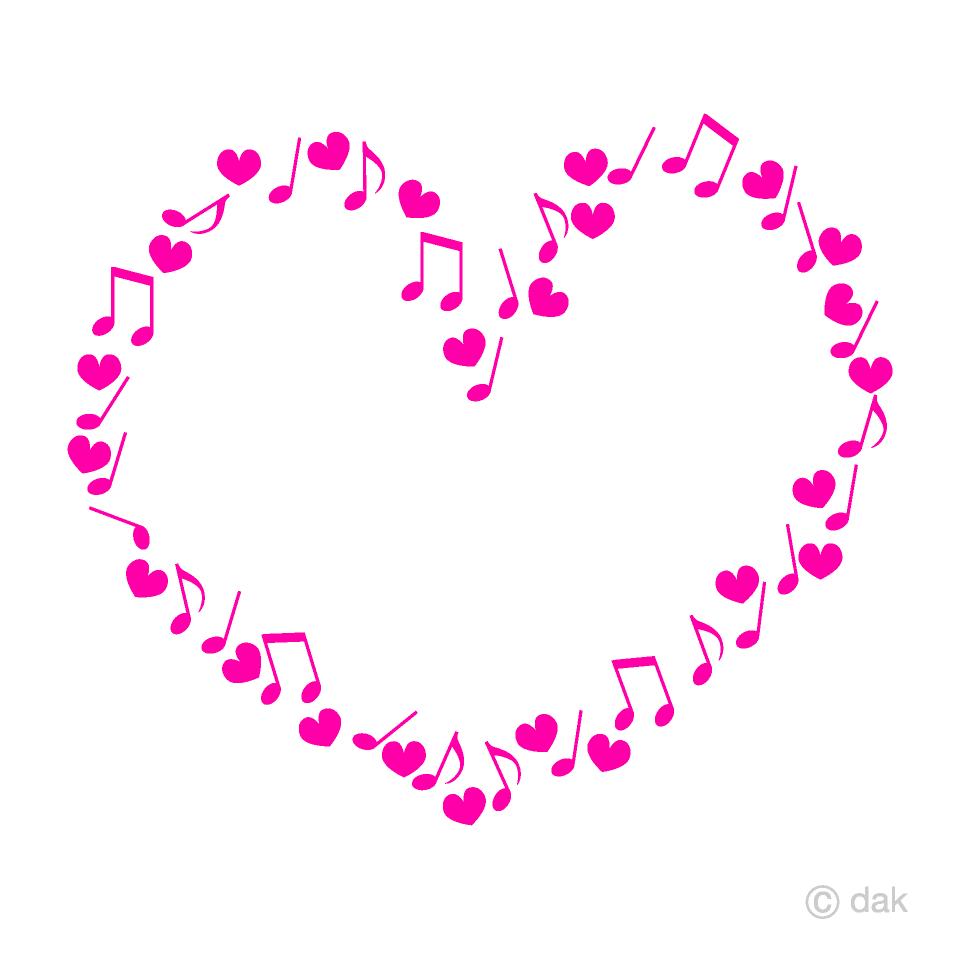 ハートと音符のピンクハートマークの無料イラスト素材 イラストイメージ