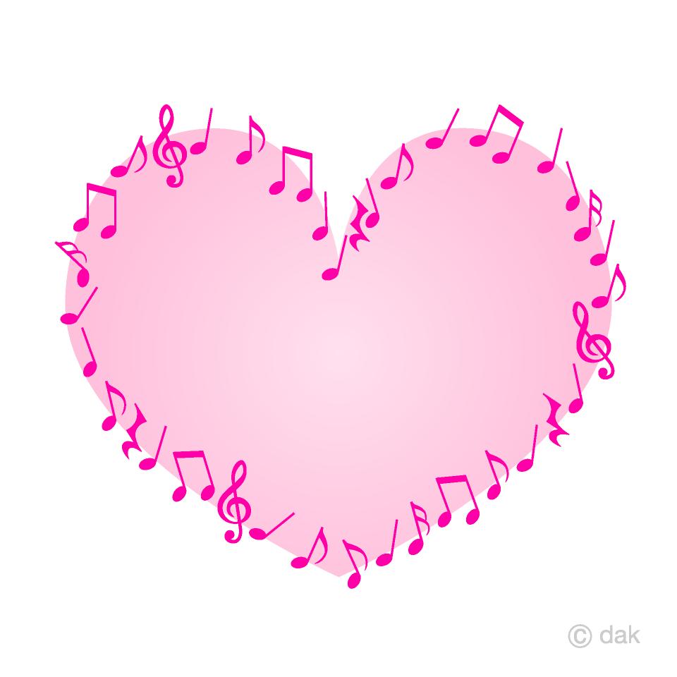 音符のピンクハートの無料イラスト素材 イラストイメージ