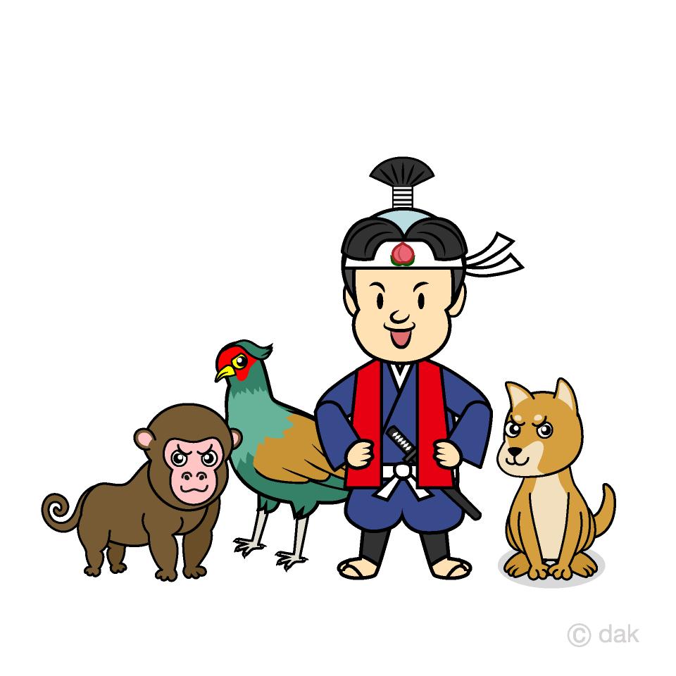 桃太郎と犬猿雉の無料イラスト素材イラストイメージ