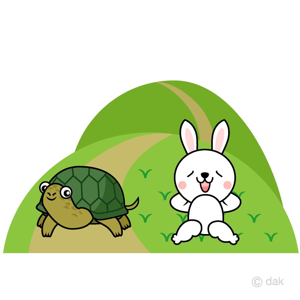 ウサギとカメの無料イラスト素材イラストイメージ