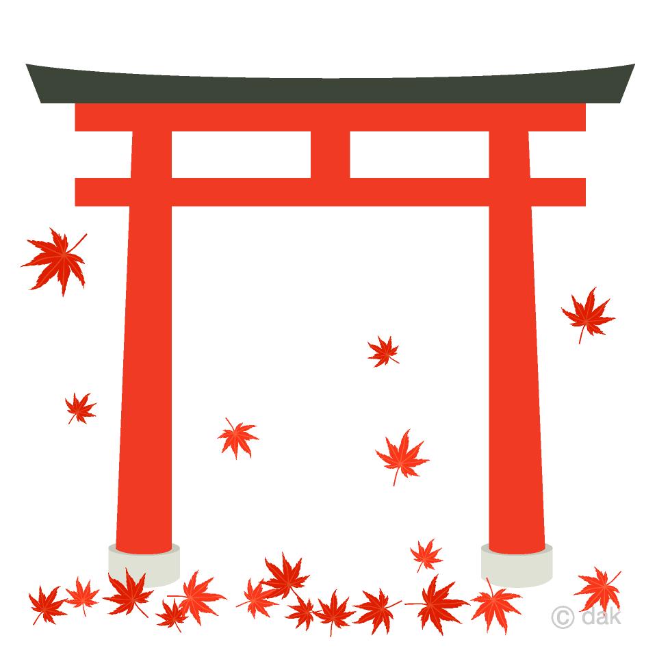 秋の神社の無料イラスト素材イラストイメージ