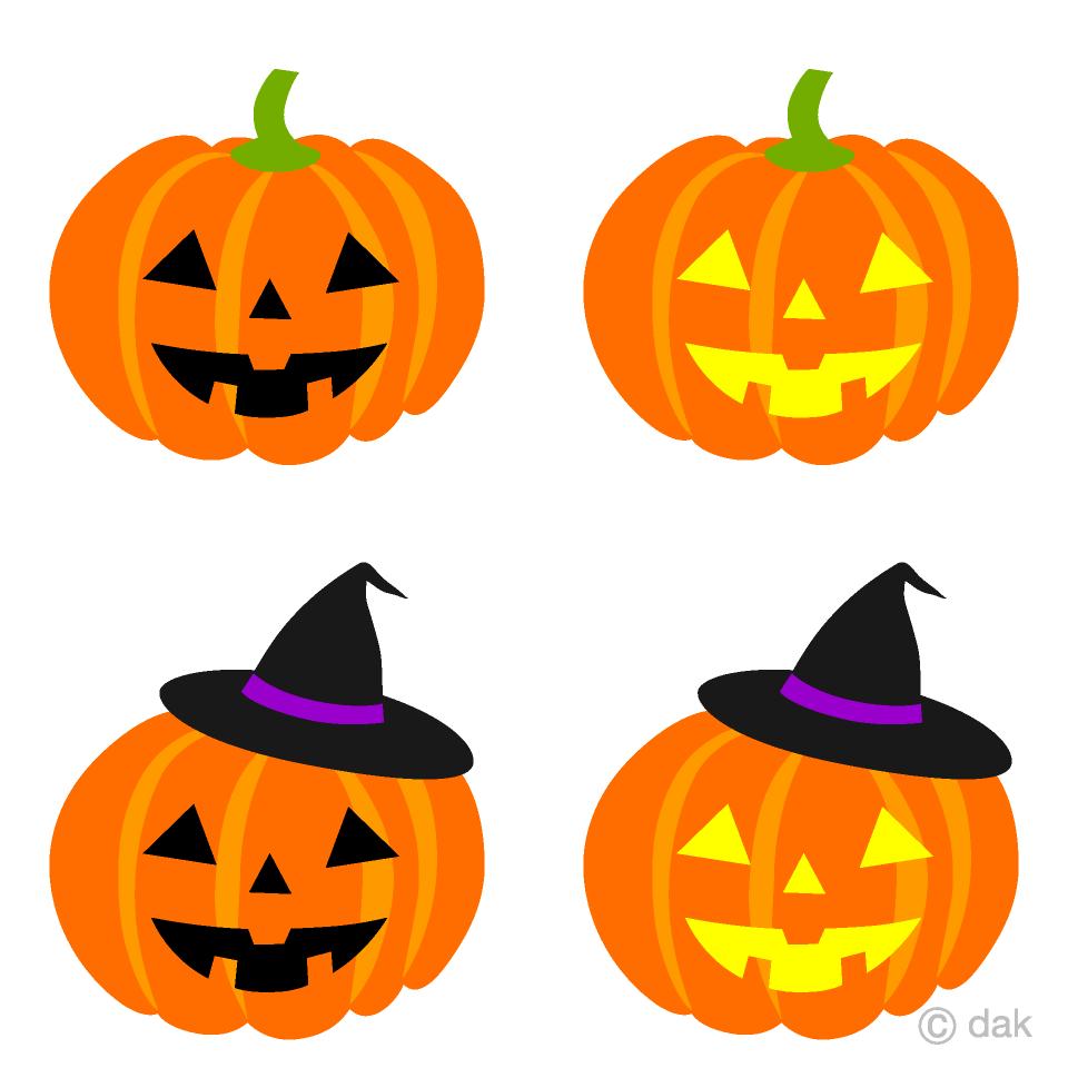 魔女帽子とハロウィンかぼちゃ4種の無料イラスト素材イラスト