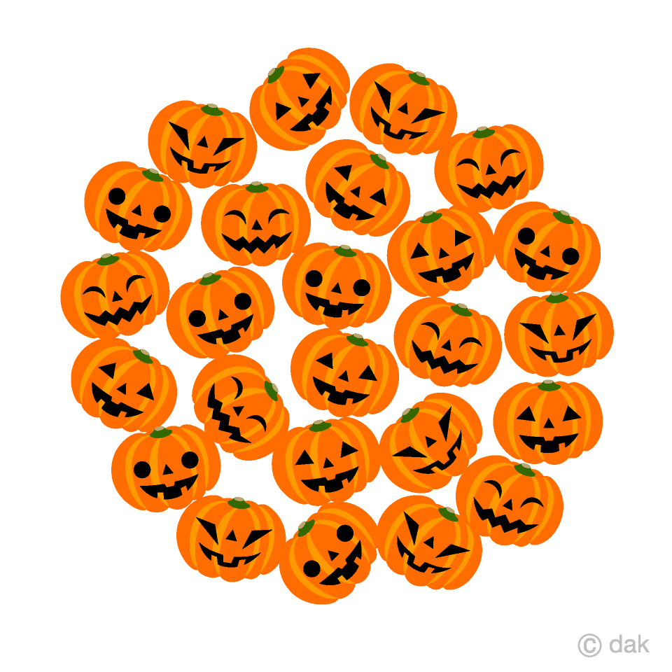 ハロウィンかぼちゃサークルの無料イラスト素材イラストイメージ