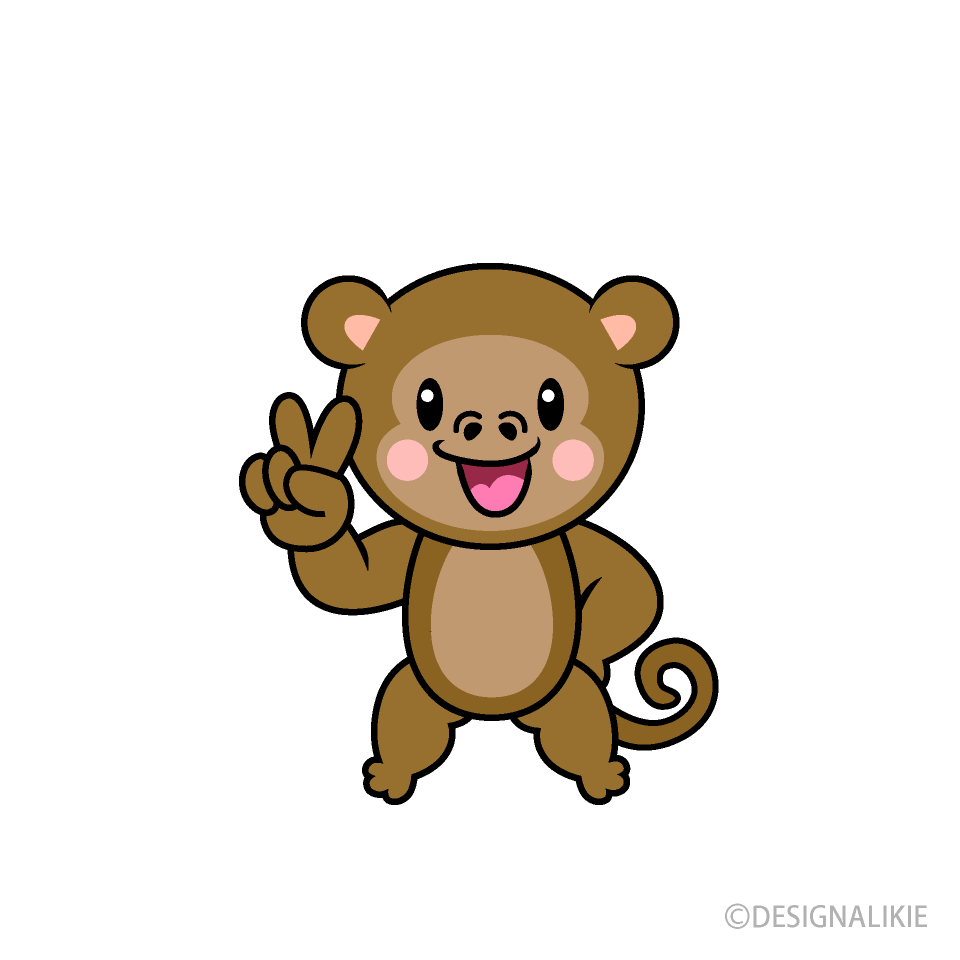 歌う猿キャラの無料イラスト素材|イラストイメージ