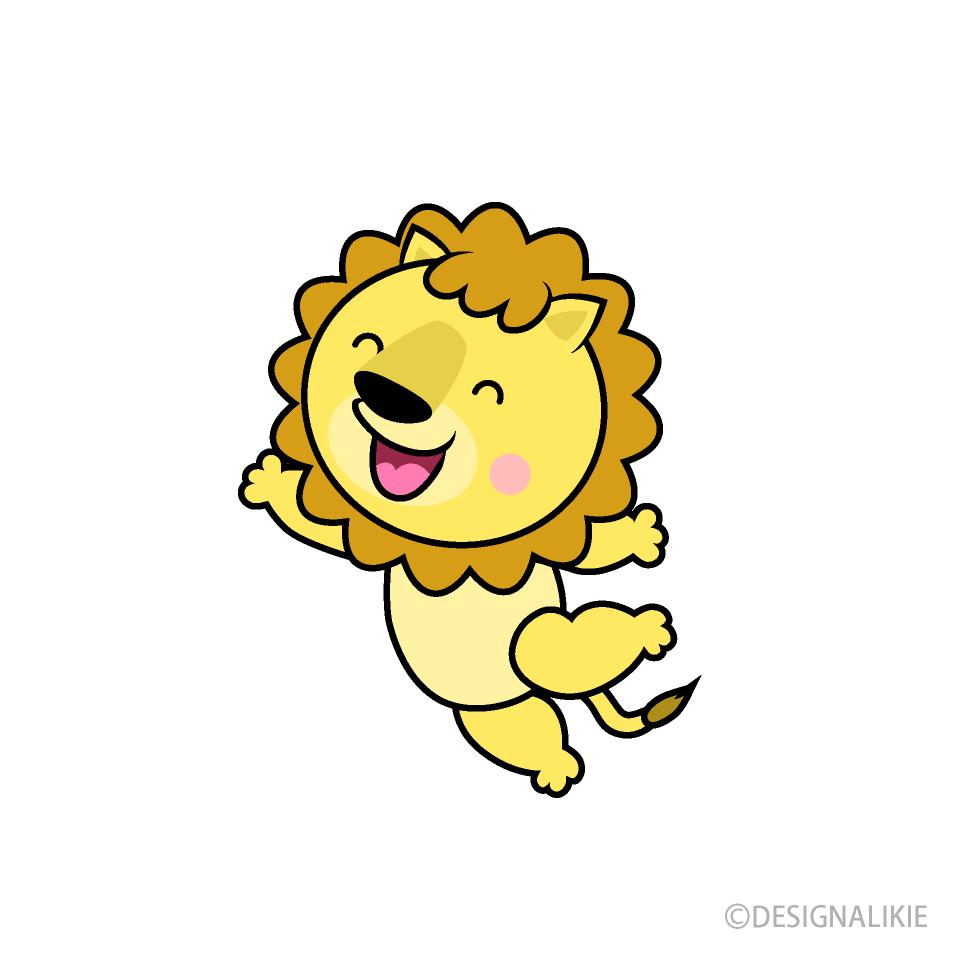 ジャンプするライオンキャラの無料イラスト素材|イラストイメージ