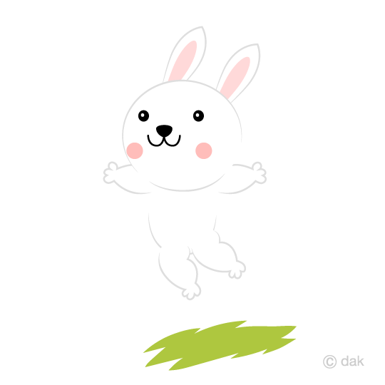 ジャンプするウサギの無料イラスト素材イラストイメージ