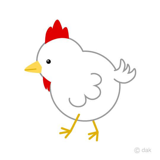 可愛いニワトリの無料イラスト素材イラストイメージ
